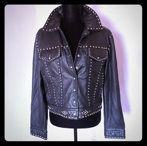 Gorgeous XL Wilsons leather studded jacket